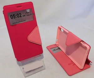 Pouzdro View Fancy Flip Diary pro Sony Xperia M4 Aqua E2303 - růžové