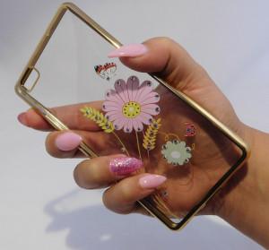 Pouzdro Diamonds design Huawei Ascend P8 Lite Květiny