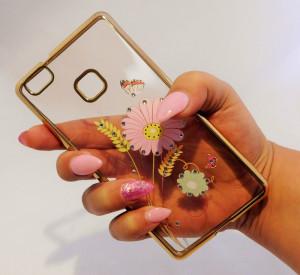 Pouzdro Diamonds design Huawei P9 Lite Květiny