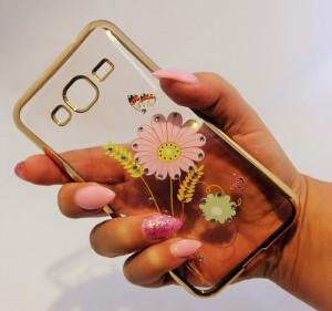 Pouzdro Diamonds design Samsung Galaxy J3 J320 2016 Květiny