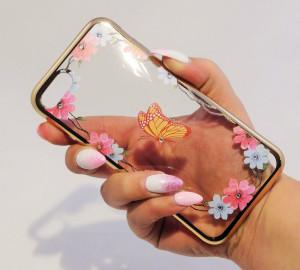 Pouzdro Diamonds design iPhone 7 Motýl
