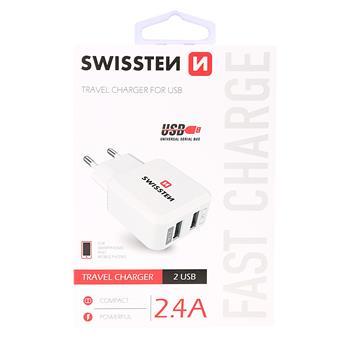 SWISSTEN SÍŤOVÝ ADAPTÉR 2x USB 2,4A POWER BÍLÝ