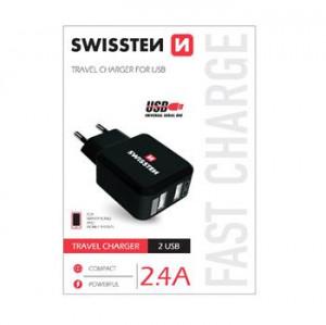 SWISSTEN SÍŤOVÝ ADAPTÉR 2x USB 2,4A POWER ČERNÝ