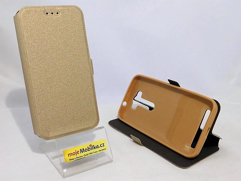 Pouzdro Book Flexi Pocket Asus Zenfone 2 laser 5.0 ZE500KL Zlaté