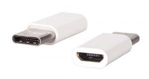 Adaptér microUSB/micro USB Type C pro nabíjení/přenos dat Bílý