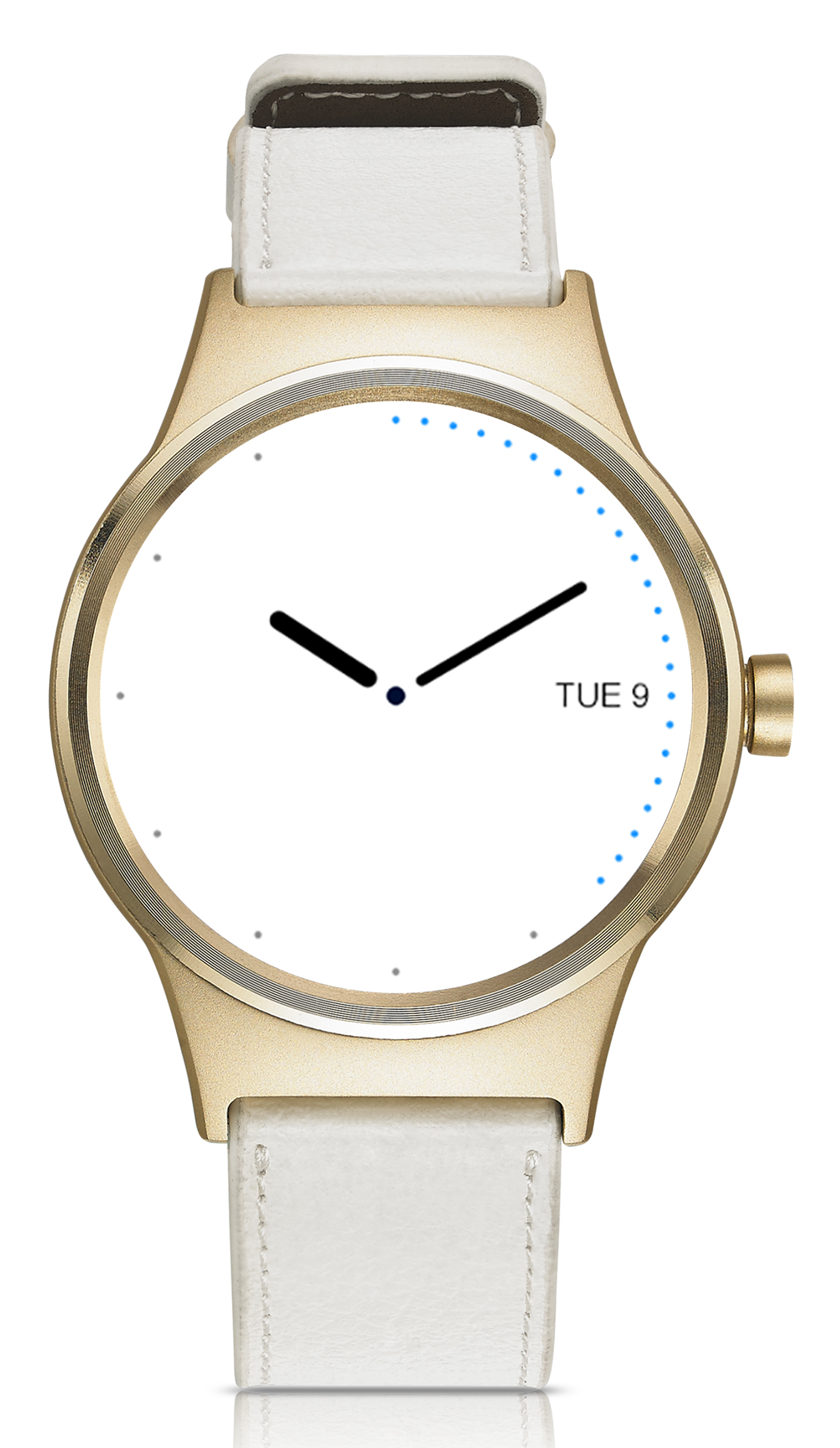 TCL MOVETIME Smartwatch, Leather, Gold/White