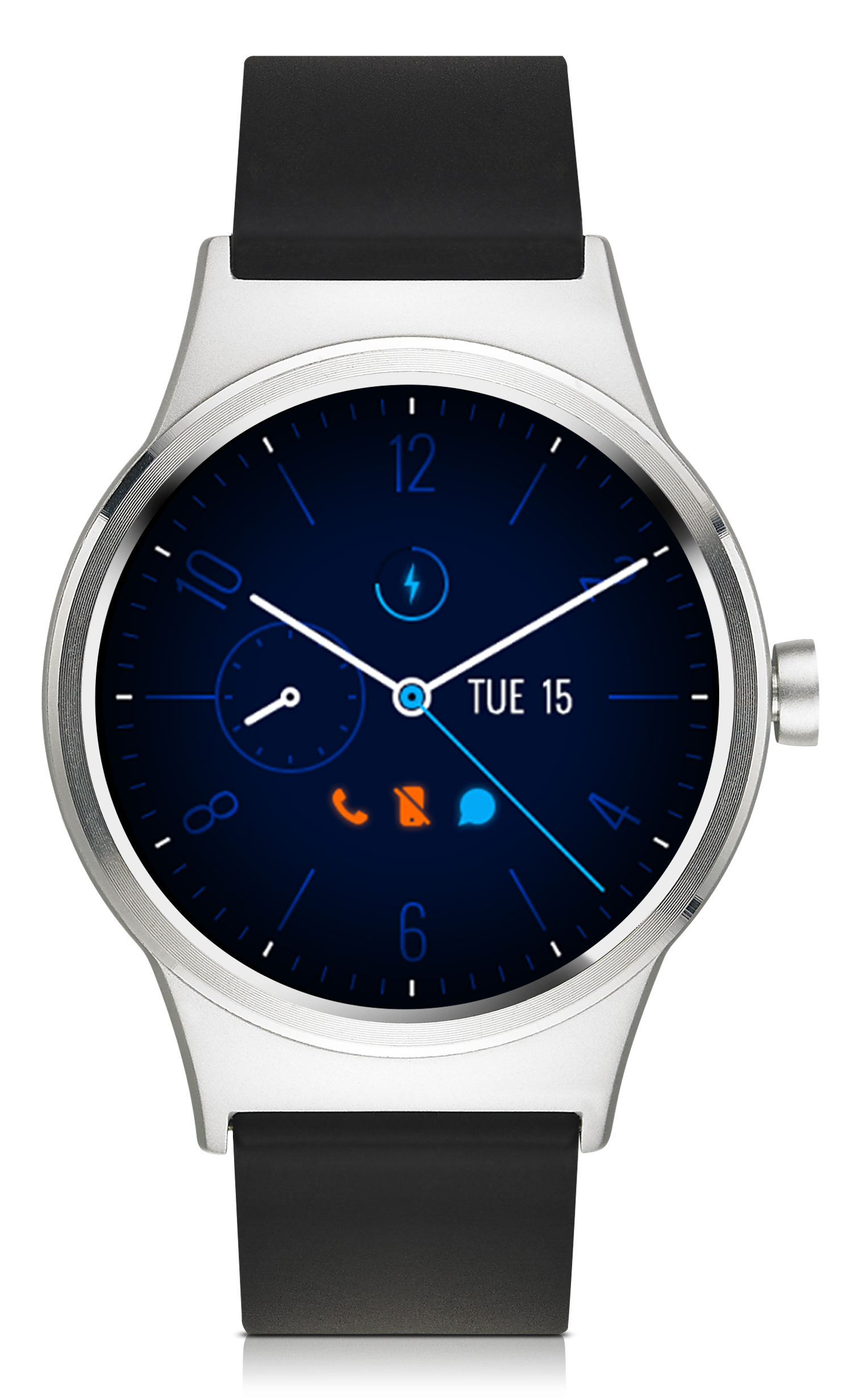 TCL MOVETIME Smartwatch, Leather, Silver/Black