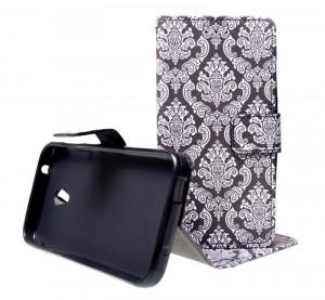 Pouzdro Wallet Design Alcatel U5 4047D Black/white
