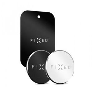 Sada 3ks plíšků FIXED Magnetto vhodných pre magnetické držiaky, čierna a strieborná farba