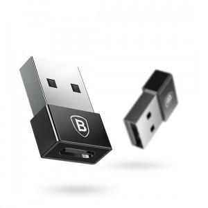 Baseus Adapter Exquisite Usb samec Typ C samice 2,4A (CATJQ-A01) Černý