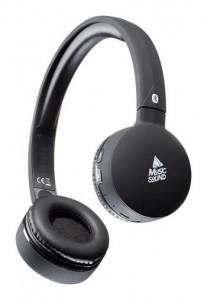 Bluetooth sluchátka MUSIC SOUND s hlavovým mostem a mikrofonem, černá