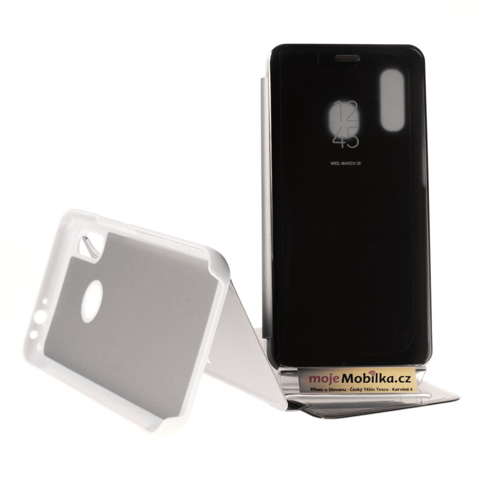 Pouzdro Clear View Samsung Galaxy A40 A405 Stříbrné
