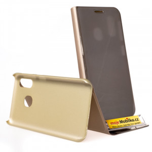 Pouzdro Clear View Samsung Galaxy A20e A202 Zlaté