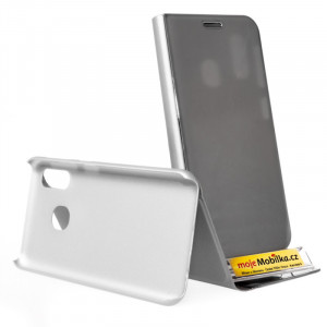 Pouzdro Clear View Samsung Galaxy A20e A202 Stříbrné