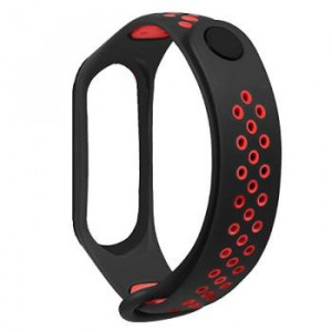 Tactical 281 Double Silikonový Řemínek pro Xiaomi Mi Band 3/4 Black/Red (EU Blister)