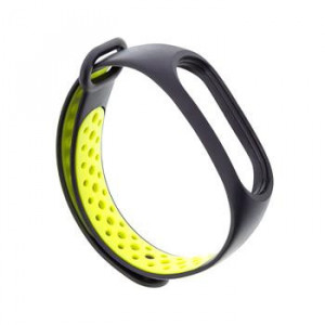 Tactical 283 Double Silikonový Řemínek pro Xiaomi Mi Band 3/4 Black/Yellow (EU Blister)
