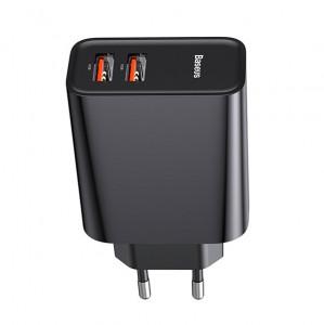 Baseus Dual-USB Quick Charge nabíjačka s PD3.0 QC3.0, 2xUSB 30W, čierna CCFS-E01