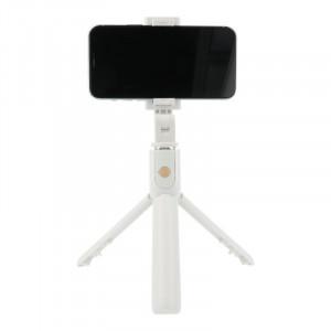 Držiak Monopod Selfie K07 do ruky + Tripod stativ teleskopický s bluetooth ovládáním biely