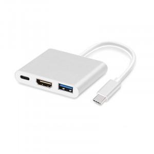Adaptér - USB Typ C na HDMI, USB, USB Typ C 4K*2K 0,25 m Bílý