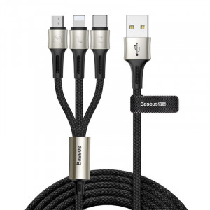 Baseus Caring Touch 3in1 Lightning Type-C Micro Kablo-Siyah CAMLT-GH01