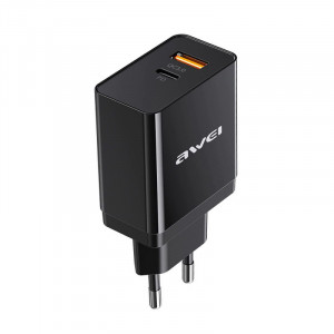 awei C-980 18W PD 8 Pin + QC 3.0 USB Interface Fast Charging Travel Charger, EU Plug(Black
