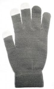 Dámské rukavice na dotykový displej šedé