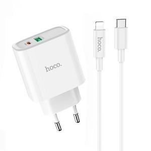 Nabíječka Hoco C57A Speed charger+ kabel USB-C a Lightning, bílá