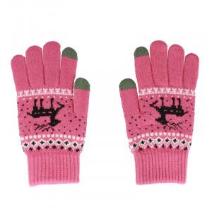 Rukavice na dotykový displej růžové  SOB