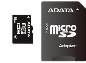 ADATA 8GB MicroSDHC Card with Adaptor Class 4 AUSDH8GCL4-RA1