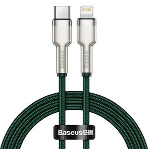 Baseus Kábel Cafule Metal USB Typ C na Lightning PD 20W 1 metr CATLJK-A06 Zelený