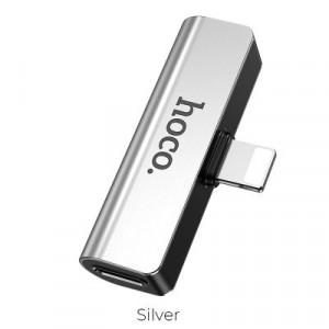 Adapter audio HOCO LS25 konvertor Lightning - Jack 3,5mm + Lightning, stříbrný