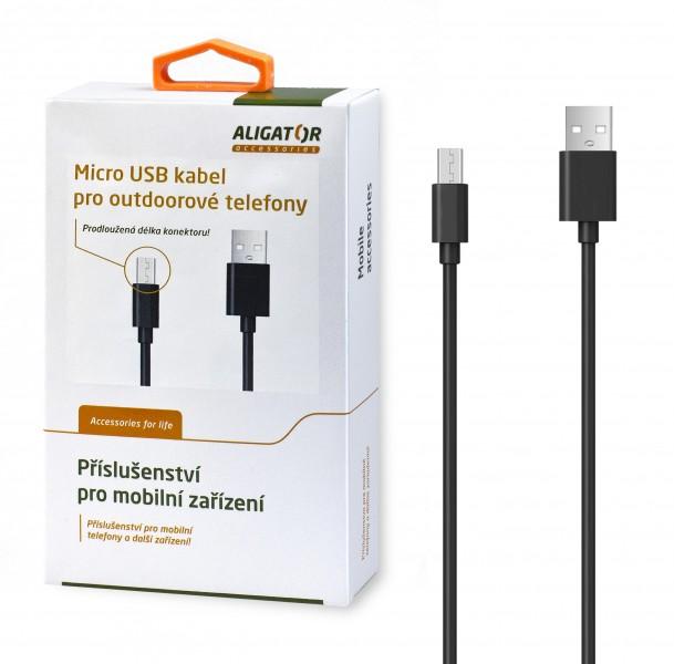 ALIGATOR Dátový kábel pre outdoorové telefony, microUSB