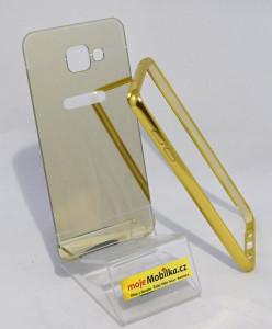 Alu bumper + zrcadlový zadní kryt pro Samsung Galaxy A5 A510 - Zlatý
