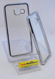 Pouzdro Bumper TPU Samsung Galaxy A3 A310 2016 Stříbrný