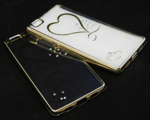 Pouzdro Diamonds TPU Huawei Ascend P8 Lite Srdce