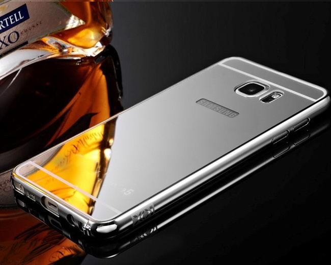 Puzdro Bumper Mirror pre Samsung Galaxy J5 J500 Stříbrné