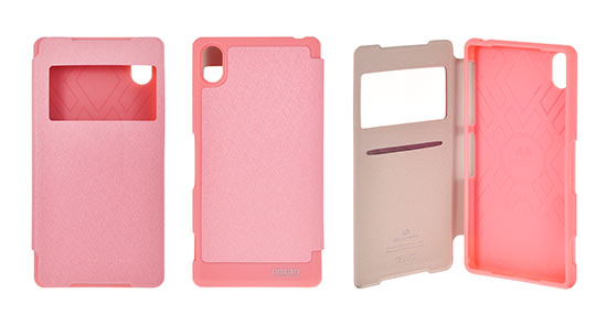 Pouzdro Mercury Wow Bumper View Case pro Sony Xperia Z2 Světle Růžové