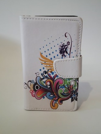 Pouzdro Flower Book Case White Samsung i9100 Galaxy SII