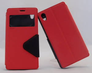 Pouzdro View Fancy Flip Diary pro Sony Xperia M4 Aqua E2303 - černo/červené
