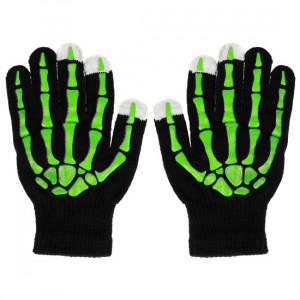 Rukavice na dotykový displej kostra zelená