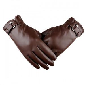 Kožené rukavice na dotykový displej hnědé